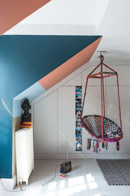 swing in kids room hanging swing chair blue orange modern kids room