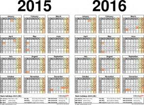 Two Year Calendar Template by Two Year Calendars For 2015 2016 Uk For Pdf