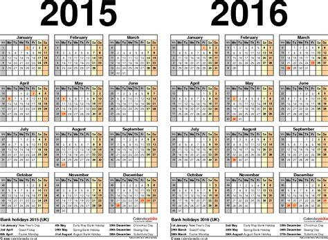 printable calendar academic year 2015 16 two year calendars for 2015 2016 uk for word