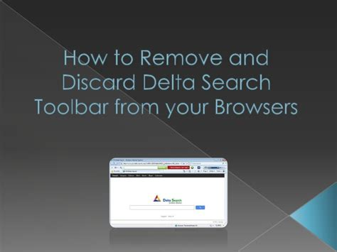 How To Remove Find Search How To Remove Delta Search Toolbar