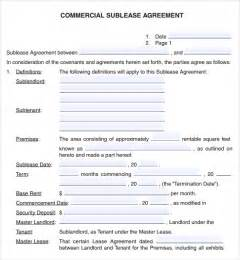 Sublease Agreement Template Word Commercial Lease Agreement 7 Free Download For Pdf