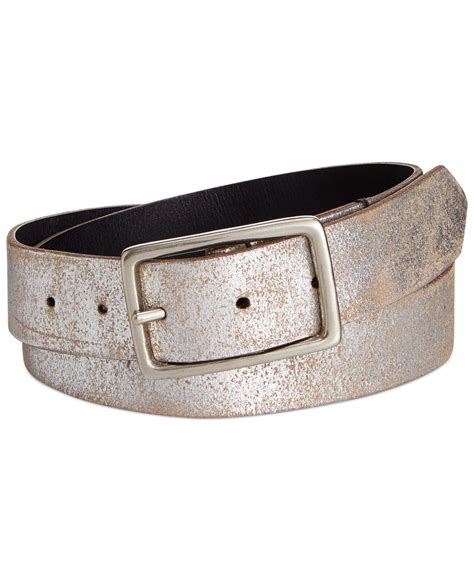 calvin klein reversible leather belt in brown lyst