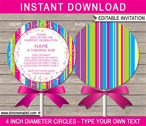 lollipop invitation template lollipop invitations