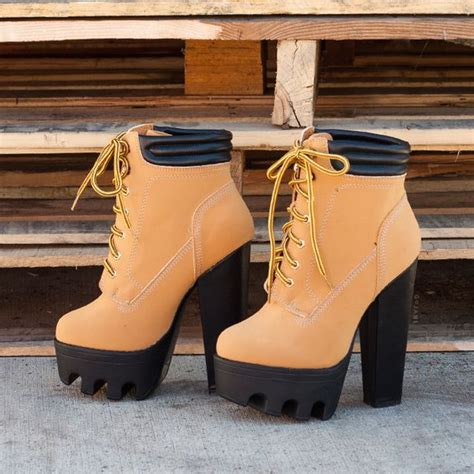 high heeled timberlands tread ruggedly faux nubuck booties gojane