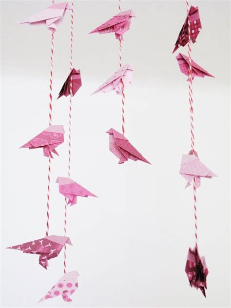 Origami Bird Mobile - pink origami bird mobile crafting quilling origami
