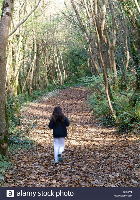 0008288607 the girl in the woods young girl walking through the woods in autumn stock photo
