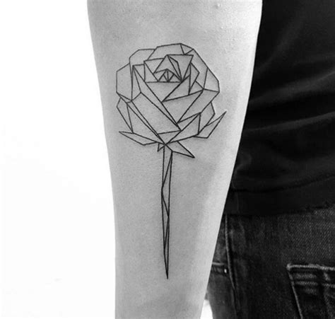 geometric rose tattoo black and white social geometric such