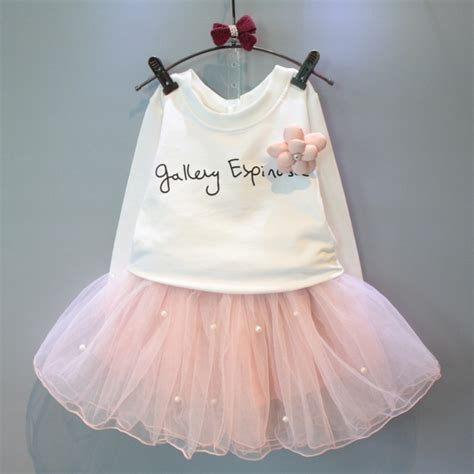 Diskon Rok Tutu 3 Warna lovely white shirt and pink skirt with rhinestone clothes set for autumn