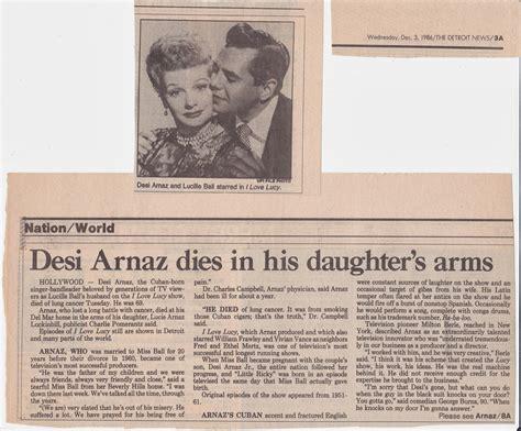when did desi arnaz died lucy archives desi arnaz dies in his daughter s arms 1986