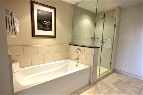 bathroom with separate shower and tub bedroom and