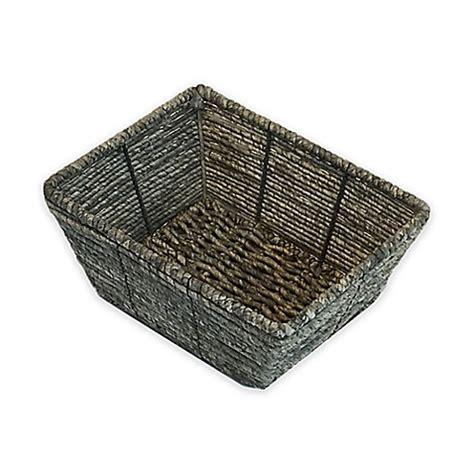 bed bath and beyond baskets baum christina binded maize vanity basket in grey bed