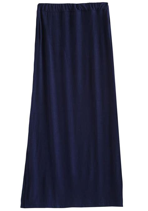navy blue split elastic waist cotton skirt skirts