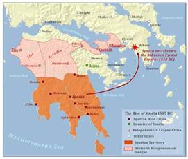 sparta map maps charts of ancient greece