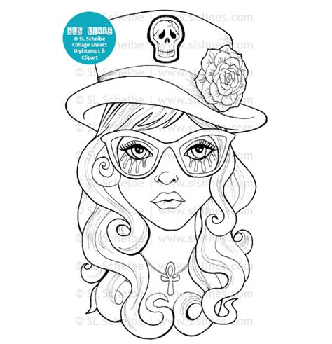 coloring book for goths digital st with top hat by slslines