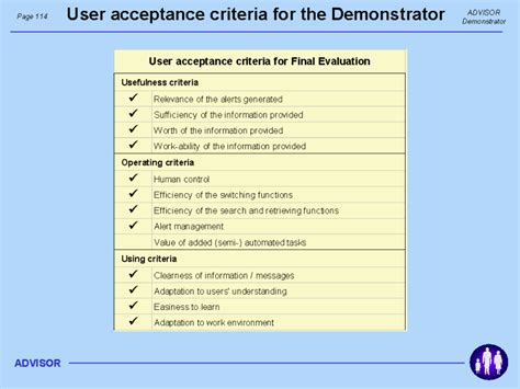 user acceptance criteria for the demonstrator