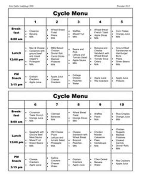 hospital menu template menu planning menu template and weekly menu planning on