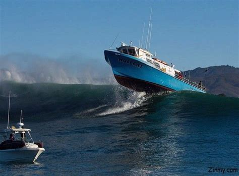 speed boat surfing a boat crossing wave in mavericks surf yachts