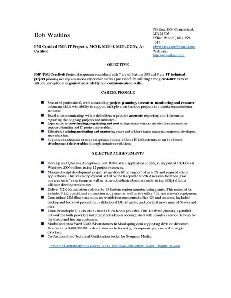the most pmp certified project manager resume resume format web