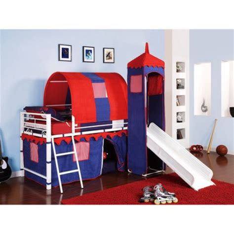 Bunk Beds With Tents And Slides Castle Tent Loft Bed W Slide Bed Storage Blue Walmart