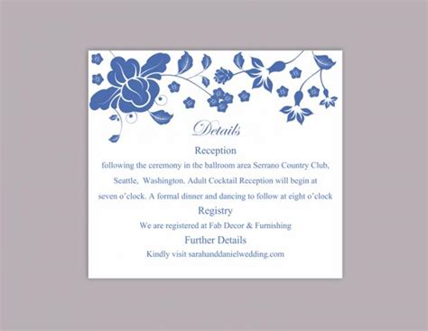 Diy Invitation Card Template by Diy Wedding Details Card Template Editable Word File