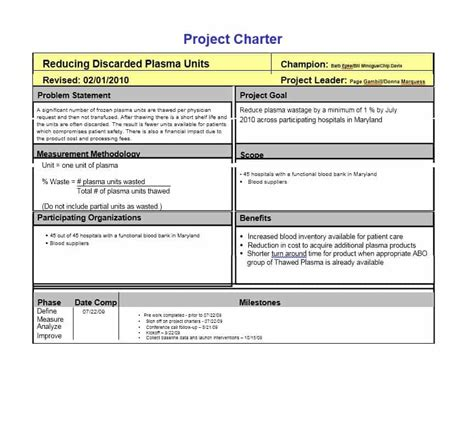 Project Charter Exles 40 Project Charter Templates Sles Excel Word Template Archive