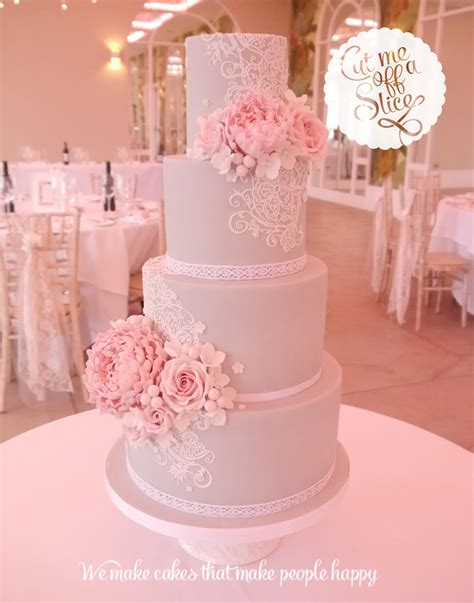 Pink Flower Wedding Cake by Bespoke Wedding Cake By Cut Me A Slice