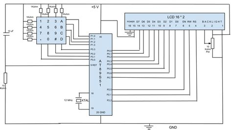 Ic Mikro Kontroller Atmel At89s51 schematic for interfacing 4 215 4 keypad with 16 215 2 lcd using at89s51 electronic circuits