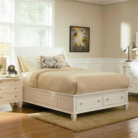 stylish soft white king storage sleigh bed bedroom furniture ebay