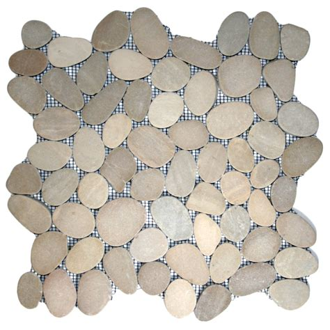sliced java tan pebble tile 12 quot x 12 quot river rock stone tile ebay