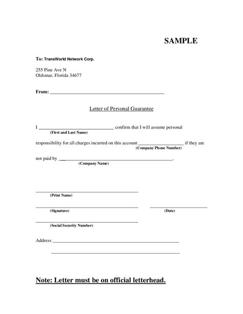 Guarantee Letter For Leave letter of personal guarantee edit fill sign