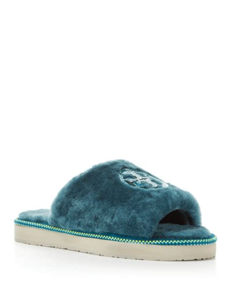tory burch house shoes tory burch shearling logo slide slippers in blue lyst