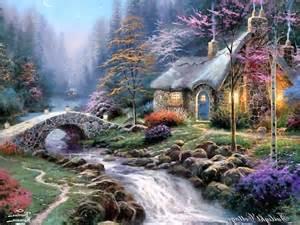 kinkade twilight cottage kinkade twilight cottage wallpaper 507203