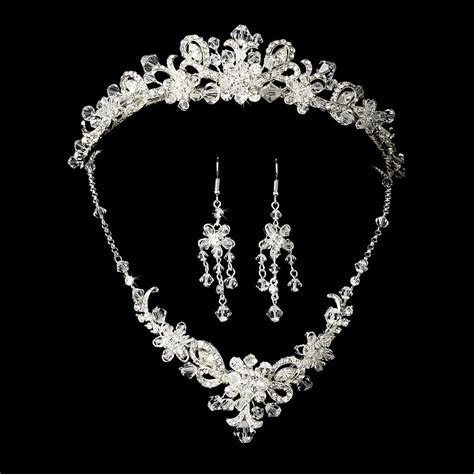 crystals for jewelry silver bridal jewelry set and tiara of swarovski