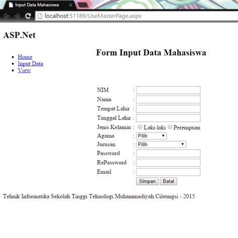 membuat form data mahasiswa dengan html tutorial input data mahasiswa dengan asp net it gaptek