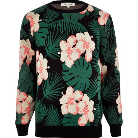 Flower Black Sweater 1 river island black floral hawaiian print sweater in green for lyst