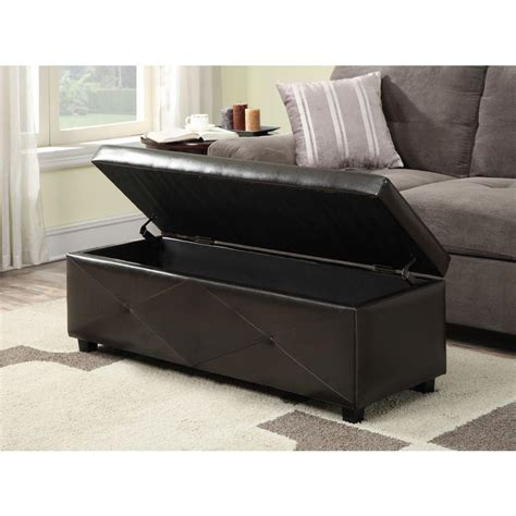 simpli home laredo rectangular storage ottoman large dark brown simpli home avalon large rectangular faux leather storage