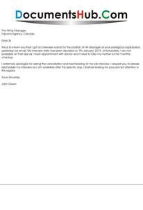 Letter Cancelling Job Interview Request To Reschedule Interview Documentshub Com