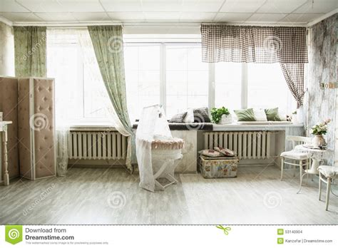 Interior in retro style bright room with a cot and large windows stock photo image 53140904