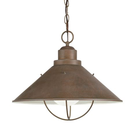 Lowes Hanging Light Fixtures Shop Kichler Seaside 13 25 In Olde Brick Outdoor Pendant Light At Lowes