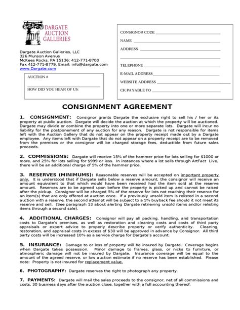 Consignment Agreement Dargate Auction Galleries Free Download Auction Consignment Agreement Template