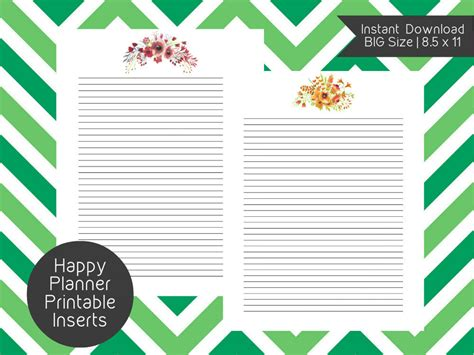 printable happy planner inserts big happy planner blank page printable inserts create 365