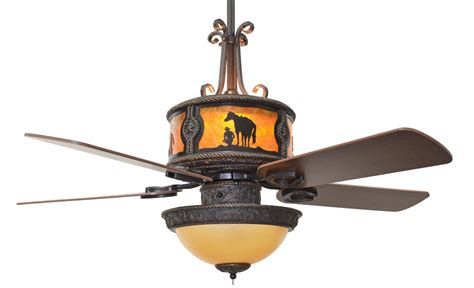 western ceiling fans with lights cc kvshr brz ru lk420 roundup western ceiling fan