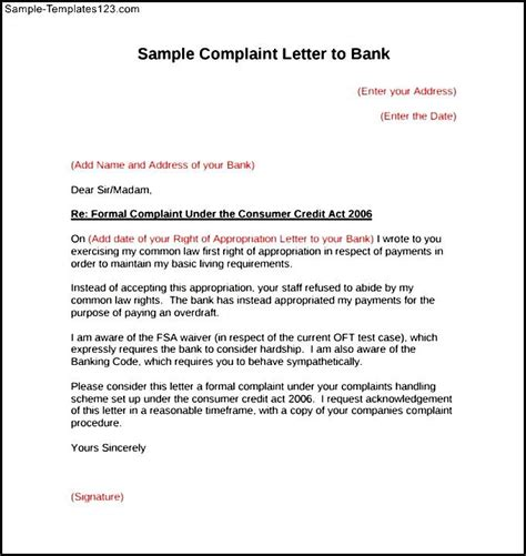 Federal Bank Letterhead Format Sles Of Business Complaint Letters Cover Letter Templates