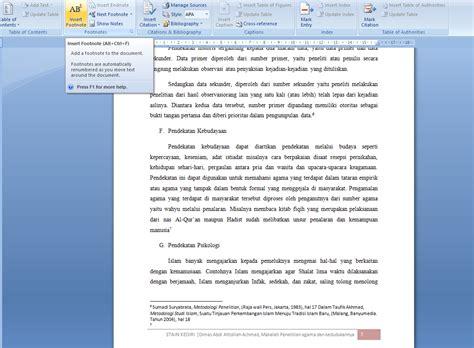 cara membuat footnote yg benar cara membuat catatan kaki footnote pada makalah atau