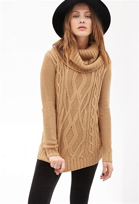 Turtleneck Cowo Turtleneck Pria Sweater Pria lyst forever 21 turtleneck cable knit sweater in
