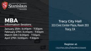 California State Stanislaus Mba by Stanislaus State Mba Information Sessions Tracy Chamber