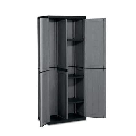 armoire rangement outils armoire haute range balai en plastique anthracitetique