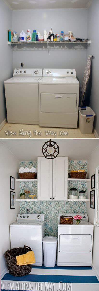 small laundry room before and how to paint vinyl or linoleum sheet flooring