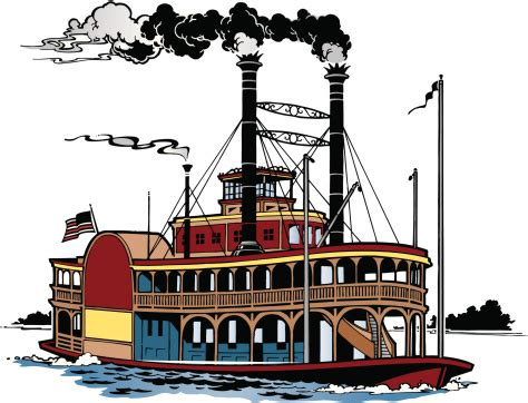 steamboat vector riverboat color grouped elements vector art thinkstock