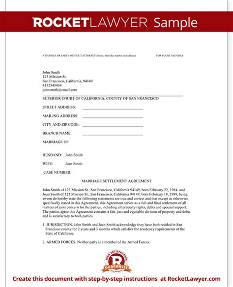divorce settlement agreement template with sle diy